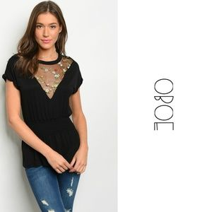 OBOE Tops - 3 for $30 • Embroidered Blouse w/Smocked Waist